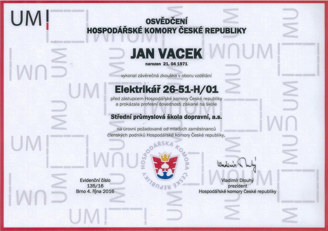 Certifikát v oboru  Eletrikář